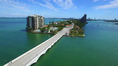Venetian Causeway Miami to Miami Beach Stock Footage