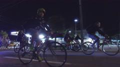 Night bike ride Stock Footage