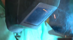 Stock Video Footage of Welding Mask and Sparks