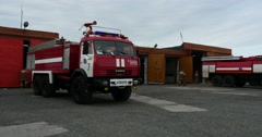 FireFighter Vehicle in Airport Stock Footage