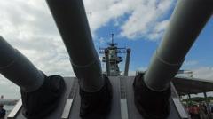 Guns of Uss Missouri battleship, slider shot- Pearl harbor Stock Footage