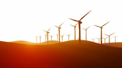 Silhouettes of rotating wind turbines on white background 4K animation Stock Footage