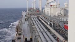 Deck of LPG gas tanker, at sea. Stock Footage