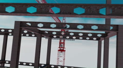 Building crane animation, work process. Over clouds view. height Stock Footage