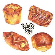 Hand drawn baking set isolated on a white background - stock illustration