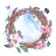 Watercolor spring wreath, bouquet with blossom apple tree - stock illustration