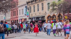 Time lapse 6th St Crowd Austin, TX SXSW 2015 Stock Footage