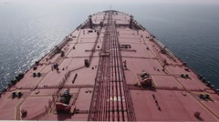 Deck of very large crude oil carrier, tanker. Stock Footage
