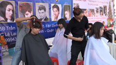 Vietnam fashion show event barbers haircut style people lifestyle Asia Stock Footage