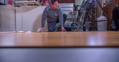 Wood flooring is almost finished Stock Footage