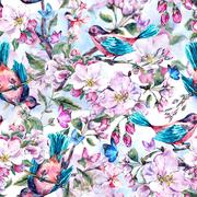 Spring seamless background with blooming branches Stock Illustration