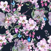 Watercolor spring seamless background with pink flowers blooming - stock illustration