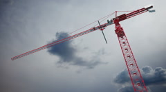 Building crane animation , city background, skyscraper landscape view. Stock Footage