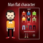Adult stylish man angry hipster Stock Illustration