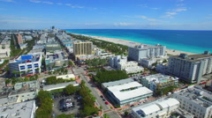 Miami Beach neighborhood south of 5th street shot ith a dji phantom drone Stock Footage