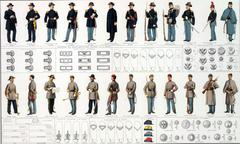 Uniformsof Union and Confederate infantry, artillery and cavalry - stock photo