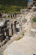 Broken columns on the archaeological site - stock photo