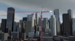 Building crane animation , city background, skyscraper landscape view. - stock footage