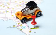 Palm Beach  USA map retro car Stock Photos