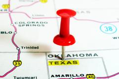 Texas   state USA map Stock Photos