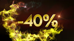 -40% Discount Text Concept, 4k Stock Footage