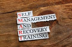 Smart recovery training  definition on wood Stock Photos