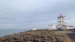 Lighthouse in the Carvoeiro Cape, Peniche, Portugal - stock footage