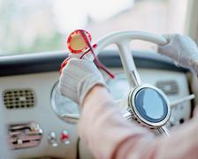 Woman driving an automobile Stock Photos