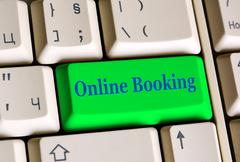 Stock Photo of Online Booking key