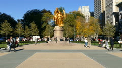 Statue in Manhattan, New York City monument Stock Footage