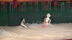 Water puppetry performance, traditional show in Saigon, Vietnam culture, Asia Stock Footage