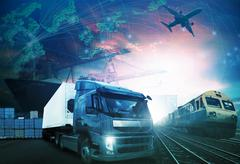 World trading with industries truck,trains,ship and air cargo freight logisti Stock Photos