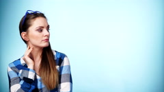 Woman attractive student girl thinking 4K Stock Footage