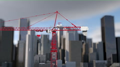 Building crane animation,city background,skyscraper.landscape view. construction - stock footage