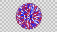 Pom Pom Ball - Red, White, Blue Stripes - Rotating Loop - Alpha Channel - stock footage