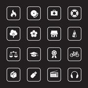 white flat miscellaneous icon set with rounded rectangle frame - stock illustration