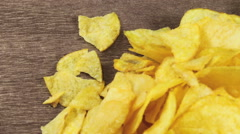 Potato Chips on the Table Rotating - stock footage