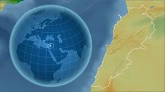 Lebanon and Globe. Bumps shaded - stock footage