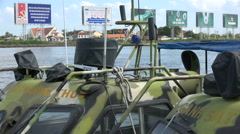 Customs vessels and advertising billboards in Ho Chi Minh City, Vietnam - stock footage