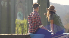 Couple Take Selfies Together Under Historic St Johns Bridge - stock footage