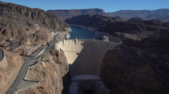 Hoover dam hydroelectric power station landscape, view from the bridge Stock Footage