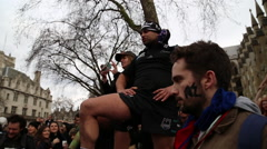 Haka at Waitangi Day Pub Crawl 2016, London, UK Stock Footage