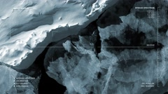 Aerial surveillance flyover of the Bellingshausen Sea, Antarctica (monochromatic Stock Footage