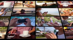 Montage Animation Wall - Using Smartphone Concept - stock footage