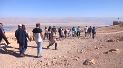 Masada bar mitzvah aarchaeological  tour Stock Footage