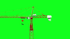 Building crane animation, work process. Green screen footage. Alpha channel - stock footage