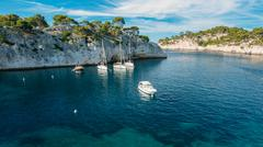 White Yachts boats in bay. Calanques in the azure coast of Franc Stock Photos