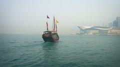 Aqua Luna Chinese Junk in Victoria Harbour Stock Footage
