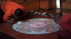 Monks, Drawing, Mandala,nepal, Monastery, Tengboche Stock Footage
