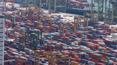 Thousands of dry freignt containers at Singapore's main shipping port Stock Footage
